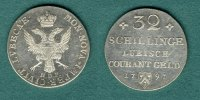 L&uuml;beck 32 Schillinge 1797 vz Doppeladler mit Stadtwappen 147,00 EUR 