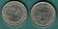50 Reichspfennig 1933 J Weimarer Republik J.324 ss/vz  89,00 EUR  + 6,90 EUR frais d'envoi