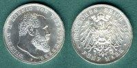 5 Mark 1908 F Württemberg Wilhelm II. fast stgl.  255,00 EUR  + 6,90 EUR frais d'envoi