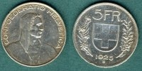 Schweiz 5 Franken 1925 ss, Randfehler Alphirte 75,00 EUR 