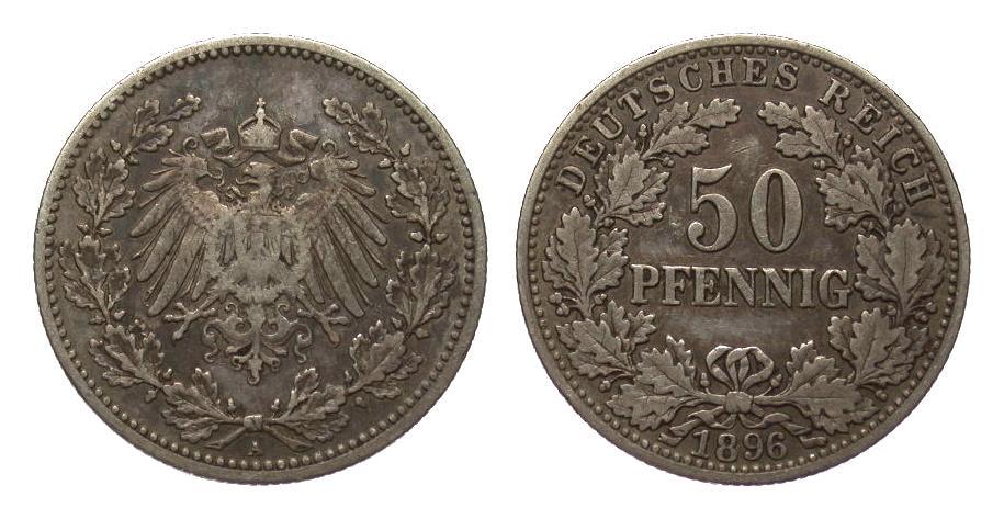 50 Pfennig 1896 A Kaiserreich fast sehr schön