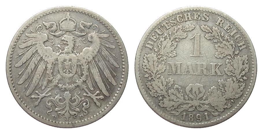 1 Mark 1891 D Kaiserreich schön / sehr schön