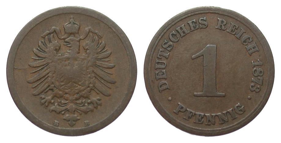1 Pfennig 1873 B Kaiserreich schön / sehr schön