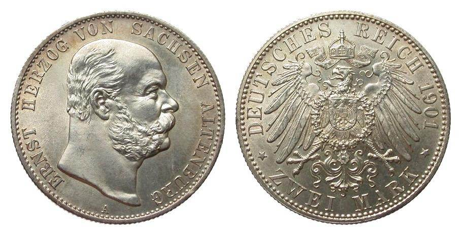 2 Mark Sachsen-Altenburg 1901 A Kaiserreich fast Stempelglanz / Stempelglanz