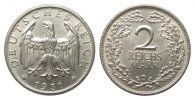 Weimarer Republik 2 Mark 1931 D fast Stemp...