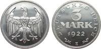 3 Mark ohne Umschrift 1922 E Weimarer Republik  polierte Platte  575,00 EUR