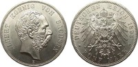 5 Mark Sachsen 1893 E Kaiserreich  wz. Kratzer, fast Stempelglanz  1695,00 EUR kostenloser Versand