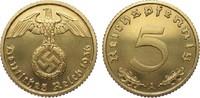 5 Pfennig 1936 A Drittes Reich  fein zaponiert, polierte Platte  495,00 EUR Gratis verzending