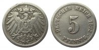 Kaiserreich 5 Pfennig 1892 J schn / sehr ...