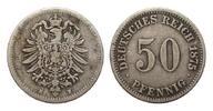 50 Pfennig 1875 H Kaiserreich  fast sehr schön  295,00 EUR kostenloser Versand