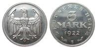 3 Mark ohne Umschrift 1922 E Weimarer Republik  wz. Kratzer, min. berüh... 480,00 EUR kostenloser Versand