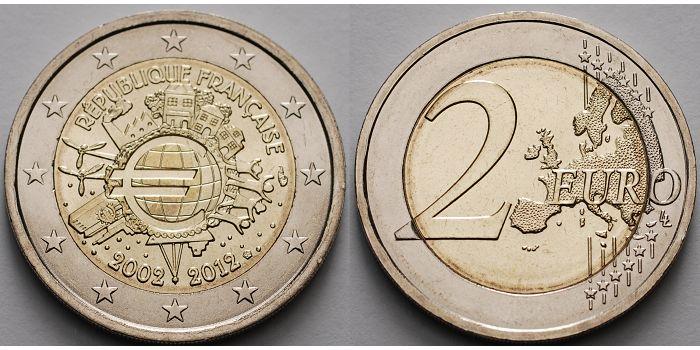2 Euro 2012 Frankreich 10 Jahre Euro Bargeld CH UNC