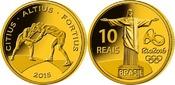 10 Reais 2015  Rio Oly. Sommer Rio 2016 -Ringen 03/04 , orig.Oly. Kapsel m. Zertifikat  PP  Gold