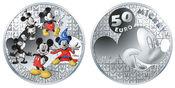 50 Euro  155,61g  fein  50 mm Ø 2016  Frankreich Mickey Mouse i.Wandel d. Zeit, inkl. Kapsel&Zertifikat&Etui, sofort lieferbar PP
