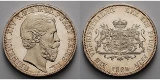 Vereinstaler 1868  Reuss-Schleiz Heinrich ...