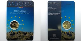 2 Euro 2014  Andorra 20 J. Mitgliedschaft von Andorra im Europarat, Herbstangebot !!! stgl  im  Blister/   Coincard