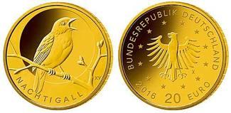 20 Euro  3,89g  fein  17,5 mm Ø 2016  Deut...