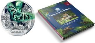 3 Euro + Sammelalbum für Weihnachten 2016  Österreich Tier-T. -Serie-Fledermaus-, 01/12 + Sammelalbum,sofort lieferbar!!! handgehoben hgh  /    vz / stgl  Silber  farbig
