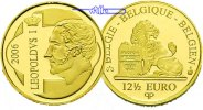 Belgien 12  Euro<br>1,25g<br> fein<br>14 mm  Leopold I. 1,25 Gramm Gold, mit Kapsel im Etui & Zertifikat & Schuber
