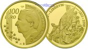Belgien 100 Euro, 15,53g<br>fein<br>29 mm  175 Jahre Unabhngigkeit Belgien, mit Kapsel im Etui & Zertifikat & Schuber