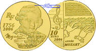 Frankreich 10 Euro, 7,78g <br>fein<br>22 mm  Mozart (1756-2006)-1/4 oz, 920er Gold, inkl. Etui & Zertifikat & Schuber
