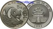 China 5 Yuan 1994 stgl Panda Bären, 1/2 oz...