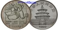 China 10 Yuan 1989 stgl Panda Bären, 1 oz,...