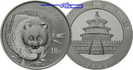 China 10 Yuan 2003 stgl Panda Bären, 1 oz,...