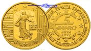 Frankreich 5 Euro,<br> 1/25oz,<br> 1,24g fein<br>13,9 mm  5 Jahre Euro-Die Serin-La Semeuse /999er Gold inkl. Etui & Zertifikat & Schuber