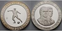 Spanien 2000 Pesetas  Oly. Sommerspiele in Barcelona - Fuball - inkl. Kapsel, Etui und Zertifikat