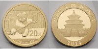 China 20 Yuan, 1,55g  fein 14 mm Ø Panda-Bären, 1/20 oz, 999 Gold