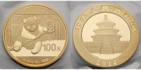 China 100 Yuan,<br>7,78g<br> fein<br>22 mm Ø Panda-Bären, 1/4 oz, 999 Gold