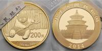 China 200 Yuan, 15,55g  fein 27 mm Ø Panda-Bären, 1/2 oz, 999 Gold --mit originalem Zertifikat--