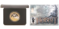 Neuseeland 1 Dollar Hobbit-Smaug and the Lonely Mountain,  2. vergoldete Münze zum Kinofilm 2013,