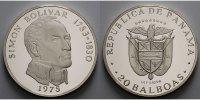 20 Balboas, 62 mm Ø, 119,88 g.fein 1972/76 Panama Simon Bolivar (1783-1... 125,00 EUR  + 17,00 EUR frais d'envoi