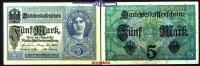 5 Mark 1917 01,08 Deutsches Reich Darlehenskassenschein, Ro.54c, I-II  4,00 EUR  + 7,00 EUR frais d'envoi
