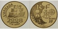 Frankreich 10 Euro, 7,78g <br>fein<br>22 mm  Armada 1/4 oz. Gold inkl. Etui & Zertifikat & Schuber