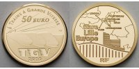 Frankreich 50 Euro<br>7,78g<br>fein<br>22 mm  TGV - Eisenbahnserie, Gare Lille Europe inkl. Etui & Zertifikat & Schuber
