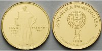 Portugal 1/4 Euro<br>1,56g<br>fein<br>14 mm  Heiliger Antonius vz. - Gold