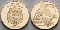 Frankreich 50 Euro<br>7,78g<br>fein<br>22 mm  Rugby Stade Toulousain mit farbiger Applikation inkl. Etui & Zertifikat &Schuber