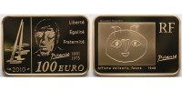 Frankreich 100 Euro<br>15,64g<br>fein<br>30x21 mm Pablo Picasso, 6. rechteckige Mnze aus Frankreich inkl. Etui&Zertifikat&Schuber