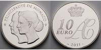 10 Euro 2011 Monaco Hochzeit von Fürst Albert II.& Charlene Wittstock-4... 395,00 EUR  + 17,00 EUR frais d'envoi