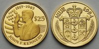 Niue 25 Dollars<br>1,24g fein<br>13,92 mm Ø Amtseid John F. Kennedy, -Archivbild-