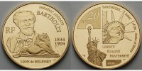 Frankreich 20 Euro, 15,64g fein<br>31 mm  Frdric Bartholdi, Freiheitsstatue 1/2 oz. inkl. Etui &Zertifikat &Schuber