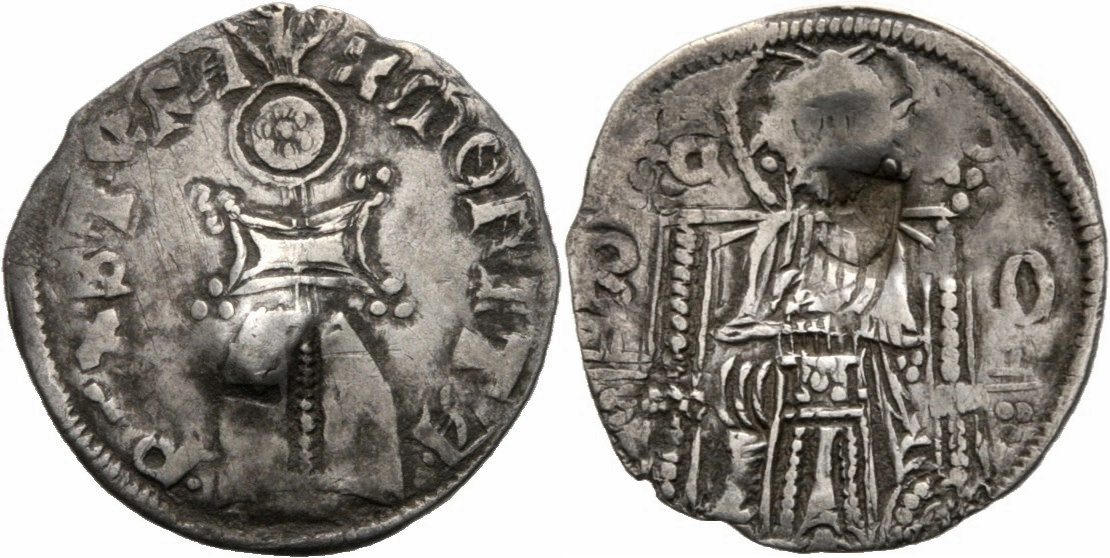 Serbien NM Serbien Knig Stefan Uros IV Dusan Dinar Grosso Denar Helm Christus Serbia Denar 1331-1345 Schne Tnung, Gegenstempel, sehr schn 
