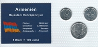 Münzblister 1994 Armenien Armenien Münzsatz Kursmünzen 10 20 Luma 1 Dra... 2,75 EUR  zzgl. 1,00 EUR Versand